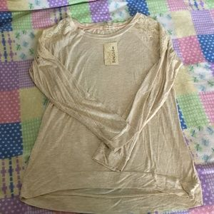 NWT Rewind Pretty Beige Top with Lace Size XL